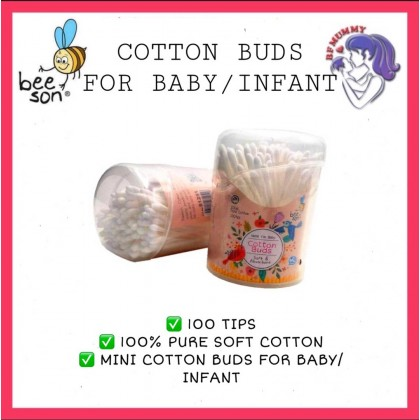 COTTON BUDS FOR BABY/INFANT 100TIPS WITH CASE - BEE SON
